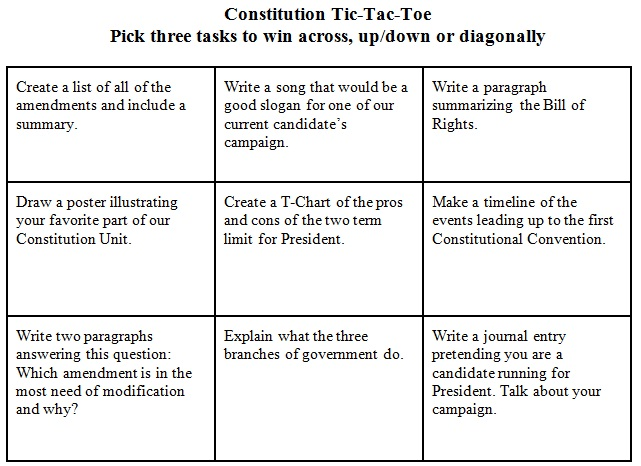 Constitution Tic Tac Toe — Learning Progressions